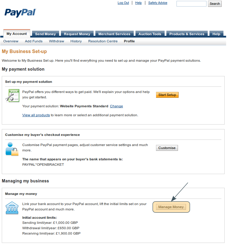 how to change my bank details on paypal