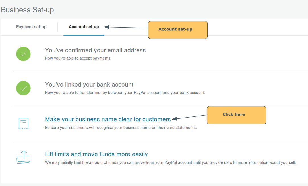 paypal set up making your business name clear