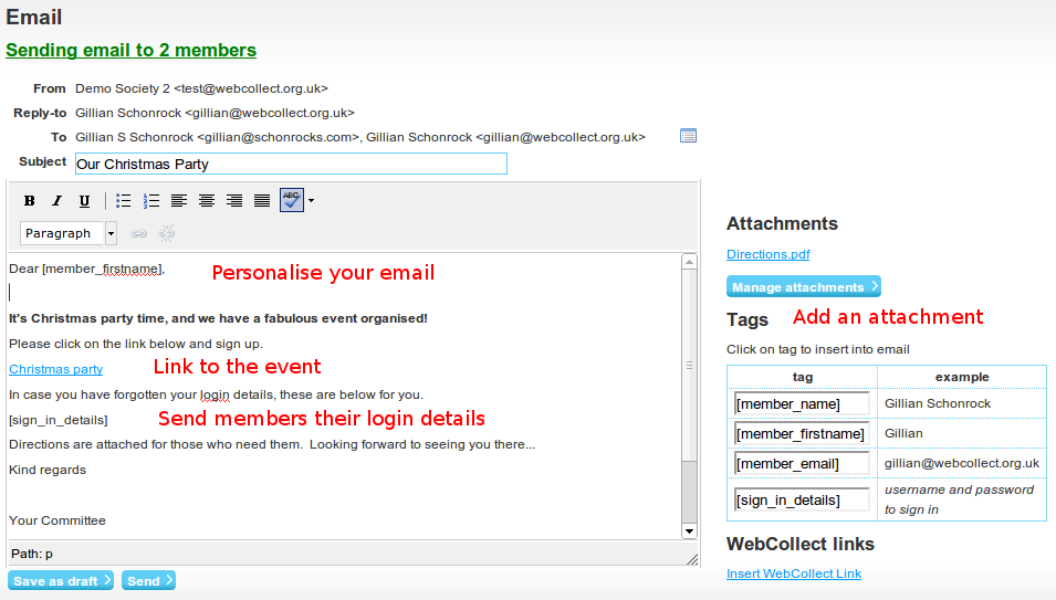 Webcollect online club membership and event software with email and event invitation email click to enlarge stopboris Image collections